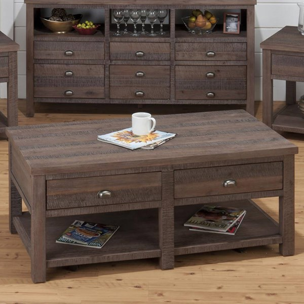 Falmouth Transitional Weathered Grey Wood Cocktail Table JFN-535-1