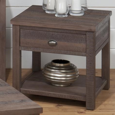 Falmouth Transitional Weathered Grey Wood End Table JFN-535-3
