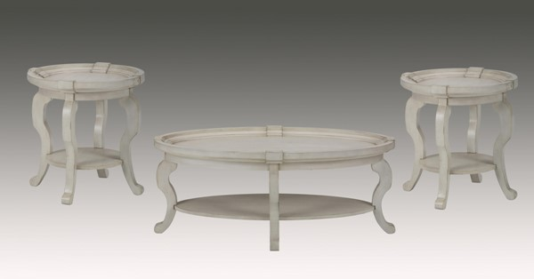 Sebastian Cream Wood 3pc Coffee Table Set w/Oval Cocktail Table JFN-540-1-3-OCT-S