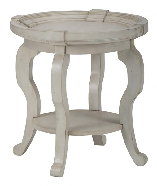 Sebastian Traditional Cream Wood Round End Table JFN-540-3