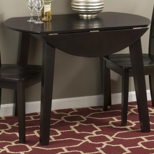 Simplicity Casual Espresso Wood Round Drop Leaf Table JFN-552-28