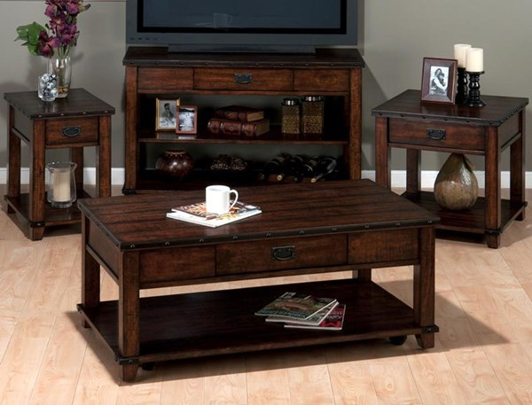 Cassidy Transitional Brown Wood Coffee Table Set JFN-561-OCT