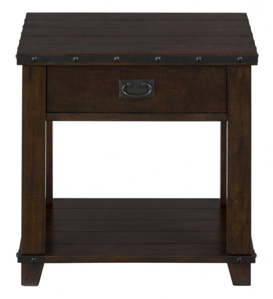 Cassidy Transitional Plank Top End Table w/Drawer JFN-561-3