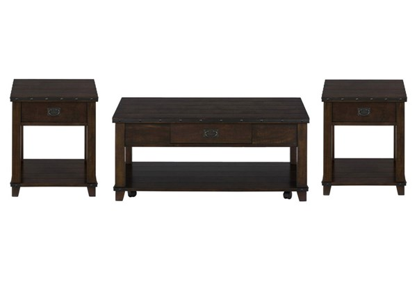 Cassidy Transitional Brown Wood 3pc Coffee Table Set JFN-561-OCT-S