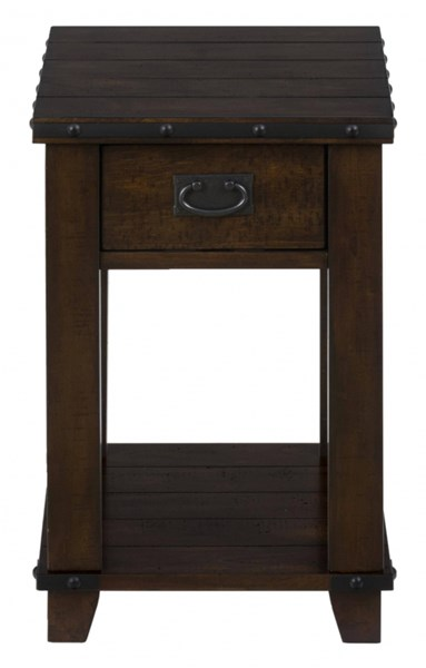 Cassidy Transitional Plank Top Wood Chairside Table w/Drawer JFN-561-7