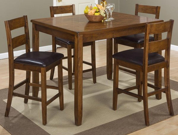 Plantation Faux Leather Hardwood 5pc Pack Counter Height / Bar Set JFN-592
