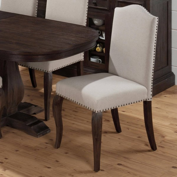 2 Grand Transitional Terrace Ivory Wood Fabric Upholstered Side Chairs JFN-634-422KD