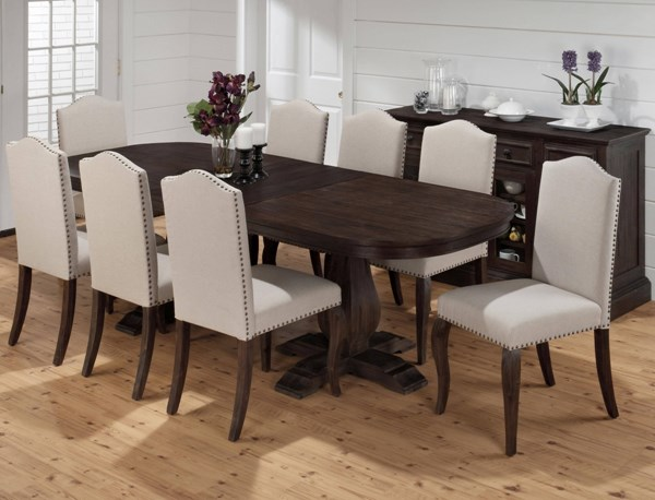 Grand Transitional Terrace Wood Fabric Dining Room Set JFN-634-102-DR