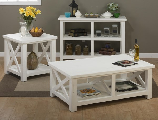 Madaket White Solid Wood Reclaimed Pine Coffee Table Set JFN-649-1-OCT