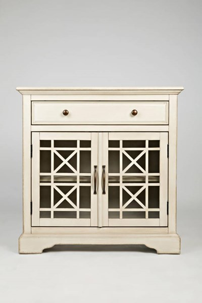 Craftsman Casual Cream Wood Glass Doors 32 Inches Accent Cabinet JFN-675-32