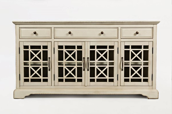 Craftsman Antique Cream Wood 4 Glass Doors 60 Inches Media Console JFN-675-60