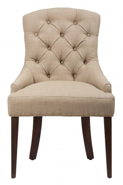Geneva Hills Traditional Brown Upholstered Side Chair w/Button Tufting JFN-678-212KD