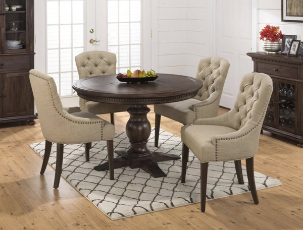 Geneva Hills Traditional Brown Beige Wood 5pc Round Dining Room Set JFN-678-60-212kd-DR-S