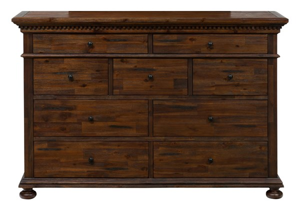Geneva Hills Traditional Brown Solid Wood 9 Drawers Assembled Dresser JFN-680-10