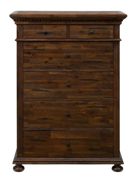 Geneva Hills Traditional Brown Solid Wood 5 Drawers Assembled Chest JFN-680-30