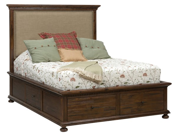 Geneva Hills Traditional Brown Solid Wood Queen Drawer Storage Bed JFN-680-QBS
