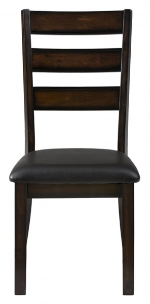 2 Baroque Contemporary Brown Slat Back Side Chairs w/Faux Leather Seat JFN-697-923KD