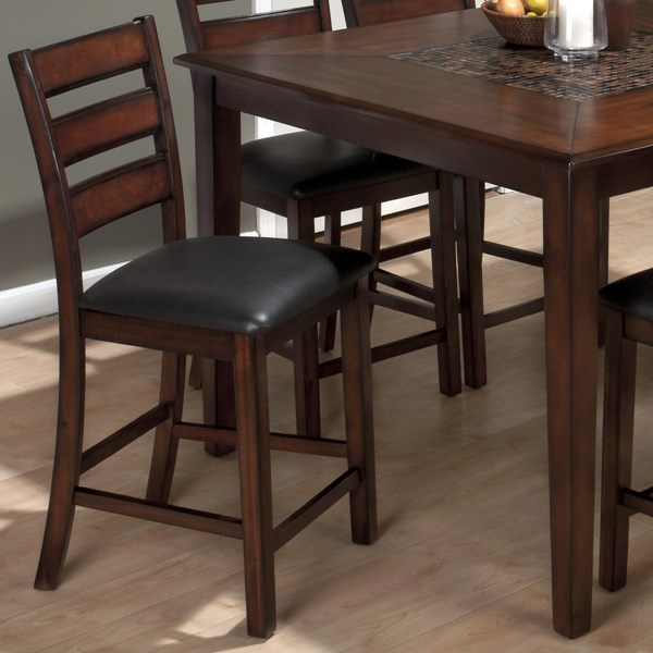 2 Baroque Contemporary Brown Slat Back Pub Stools w/Faux Leather Seat JFN-697-BS923KD