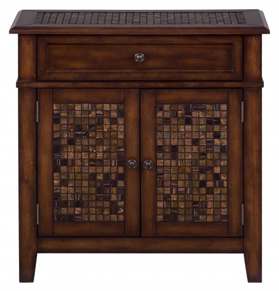 Baroque Transitional Brown Wood Accent Cabinet w/2 Doors & 1 Drawer JFN-698-13