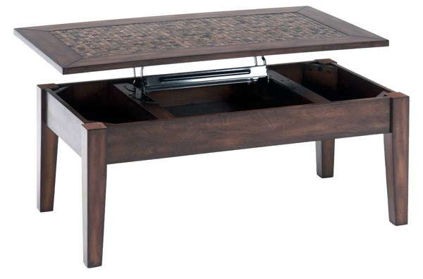 Jofran Furniture Baroque Brown Mosaic Tile Inlay Lift Top Cocktail Table JFN-698-5