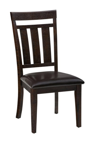 2 Kona Grove Casual Chocolate Wood Contoured Slatback Dining Chairs JFN-705-410KD