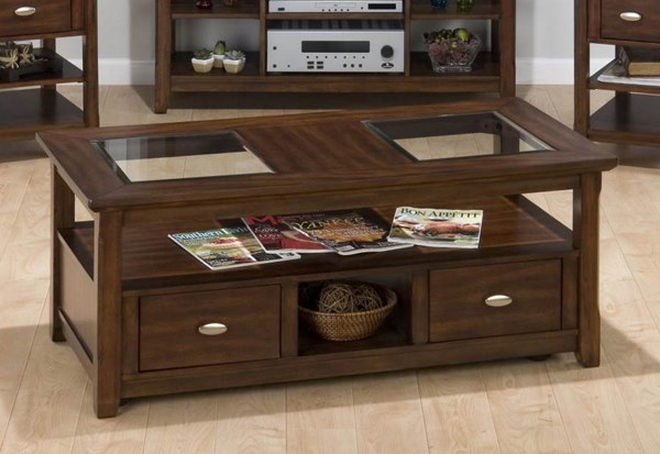 Bellingham Contemporary Brown Wood Cocktail Table JFN-709-1