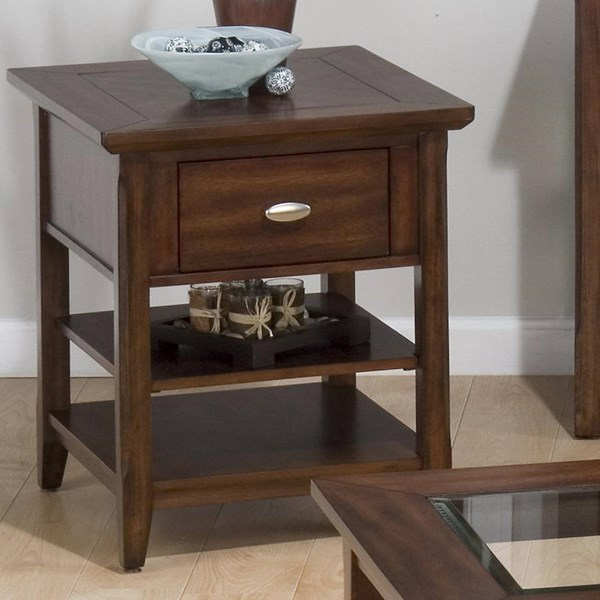 Bellingham Contemporary Brown Wood End Table w/Drawer & 2 Shelves JFN-709-3