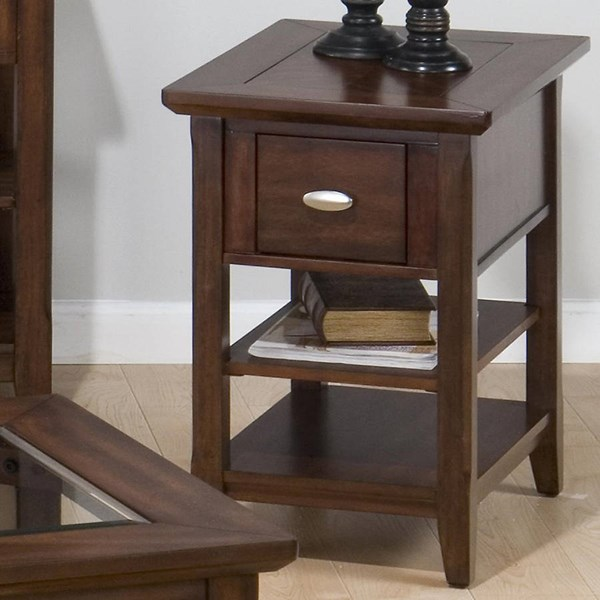 Bellingham Contemporary Brown Wood Chairside Table w/Drawer JFN-709-7