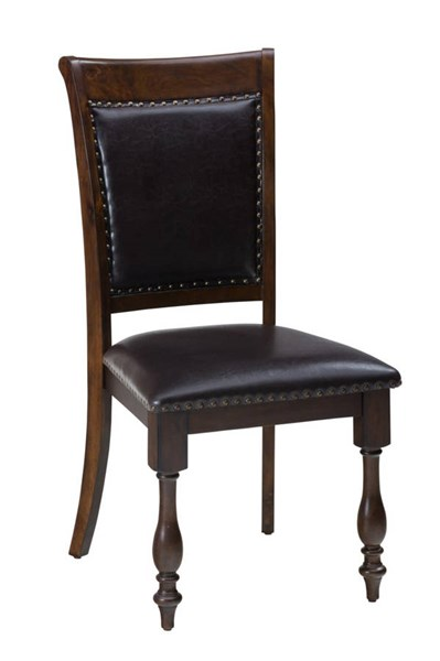 2 Grand Havana Traditional Tobacco Wood Upholstered Side Chairs JFN-723-785KD