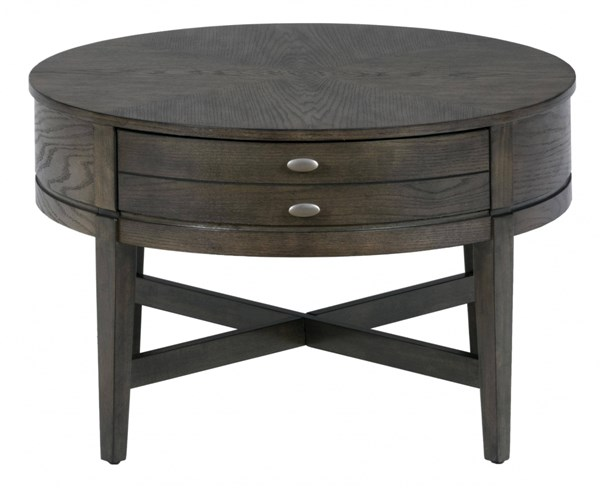 Miniatures Transitional Antique Gray Wood 30 Inch Round Cocktail Table The Classy Home