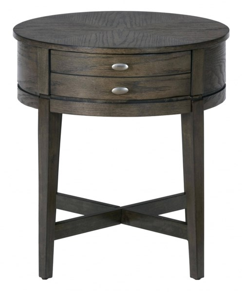 Miniatures Transitional Antique Gray Wood 22 Inches Round End Table JFN-729-3