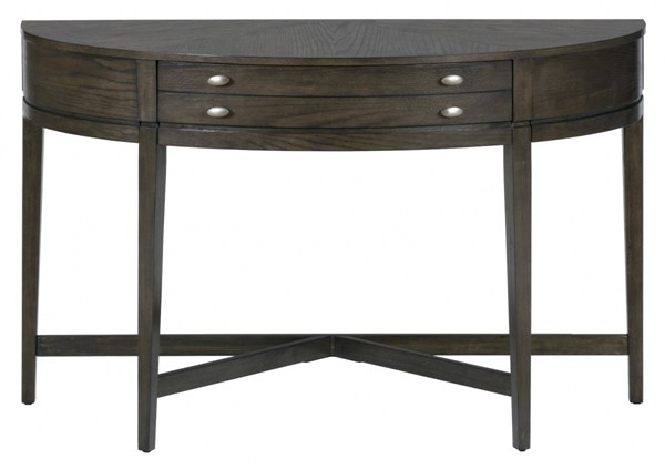 Miniatures Transitional Antique Gray Wood Demilune Sofa Table JFN-729-4