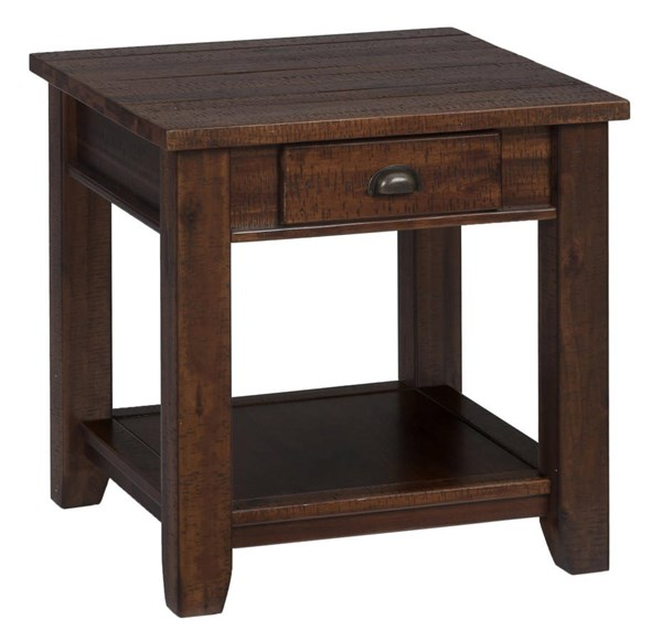 Jofran Urban Lodge Brown End Table w/Drawer & Shelf JFN-731-3