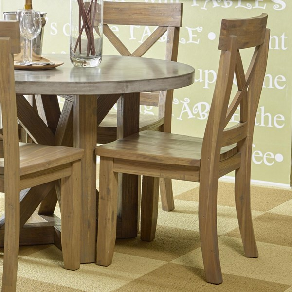 2 Boulder Transitional Natural Wood X Back Side Chairs JFN-757-611KD