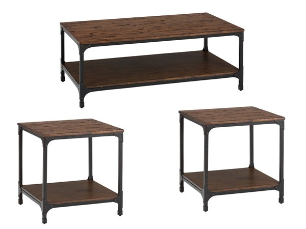 Urban Nature Transitional Metal Wood Rectangle Coffee Table Set JFN-785-OCT-S1