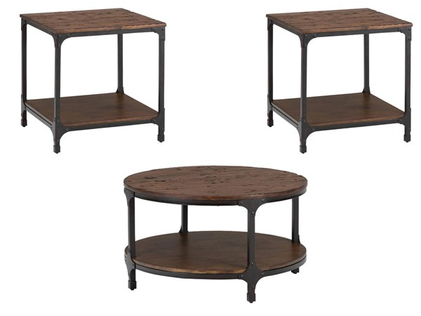 Urban Nature Transitional Metal Wood Round 3pc Coffee Table Set JFN-785-OCT-S2