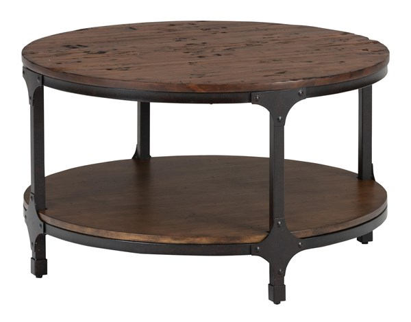 Urban Nature Transitional Metal Wood Round Cocktail Table w/Shelf JFN-785-2