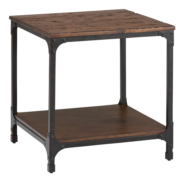 Urban Nature Transitional Metal Wood Square End Table w/Shelf JFN-785-3