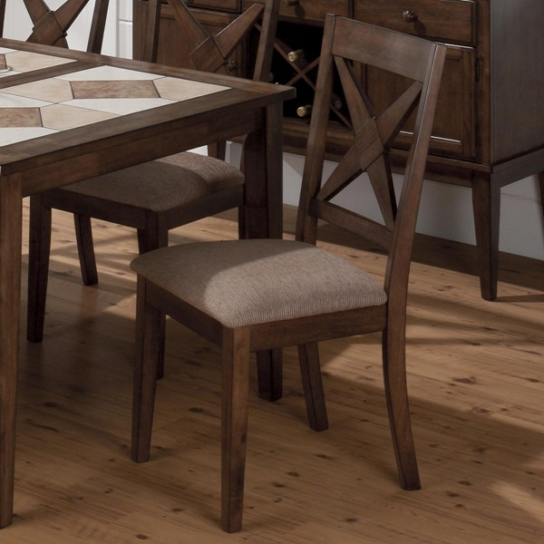 2 Tucson Casual Brown Wood Nova Side Chairs w/Upholstered Seat JFN-794-221KD