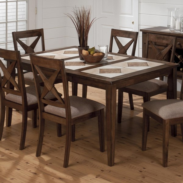 Tucson Casual Brown Wood Tri Color Tile Top Dining Table JFN-794-64