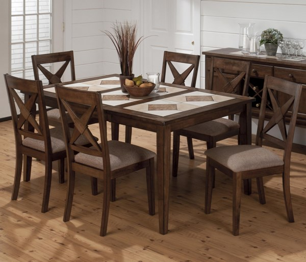 Tucson Casual Brown Wood 7pc Dining Room Set JFN-794-64-DR-S