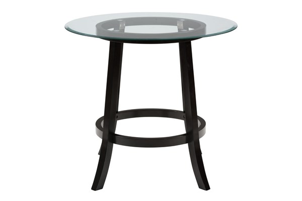 Aaron Pub Contemporary Black 42 Inches Round & 10mm Glass Table Top JFN-G-42RD