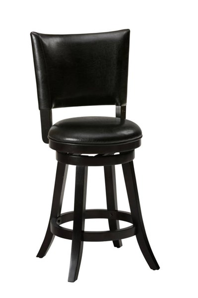 2 Aaron Pub Contemporary Black Wood Upholstered Swivel Stools JFN-815-BSS565KD