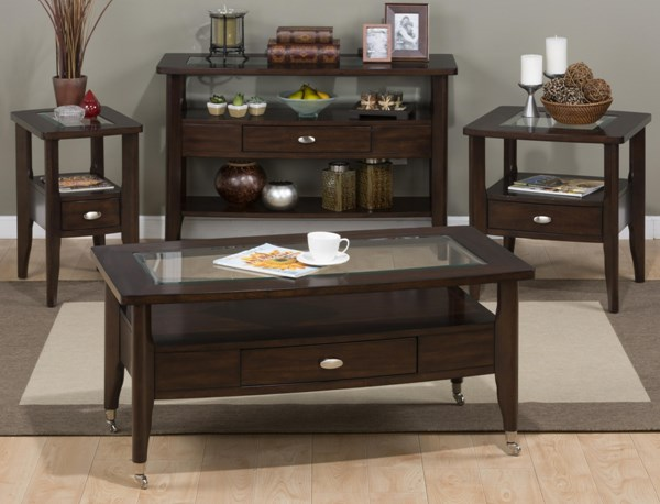 Montego Contemporary Merlot Wood 3pc Rectangle Coffee Table Set JFN-827-OCT-S1