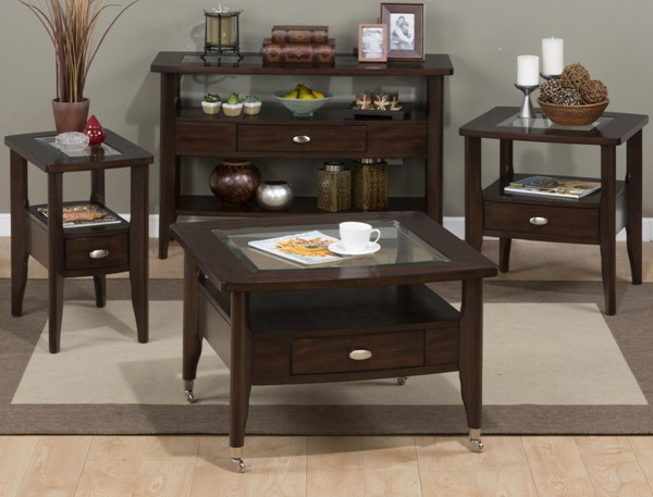 Montego Contemporary Merlot Wood 3pc Square Coffee Table Set JFN-827-OCT-S2