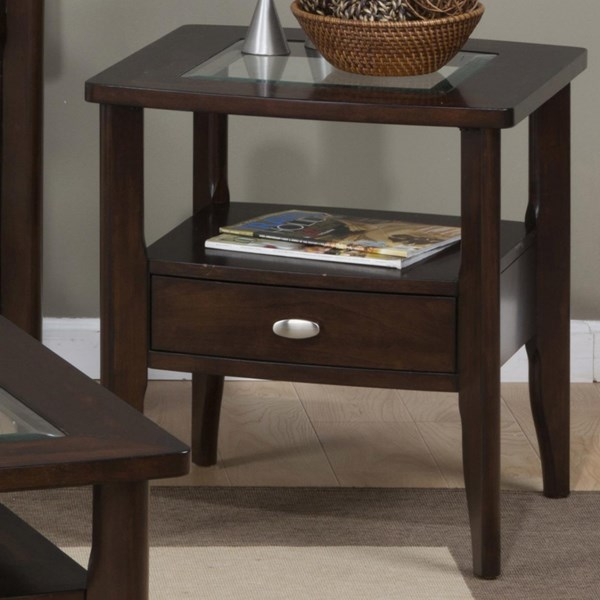 Montego Contemporary Merlot Wood Square End Table w/Drawer JFN-827-3