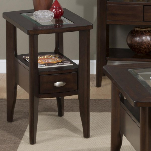 Montego Contemporary Chairside Table w/Drawer & Glass Insert JFN-827-7