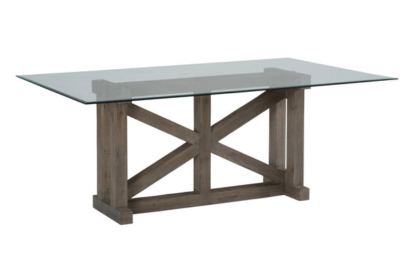Hampton Transitional Sand Glass Wood Rectangle Trestle Dining Table JFN-872-DT