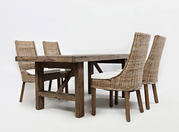 Hampton Road Coastal Wood 5pc Trestle Dining Room Set w/Rattan Chair JFN-872-79-719KD-S1