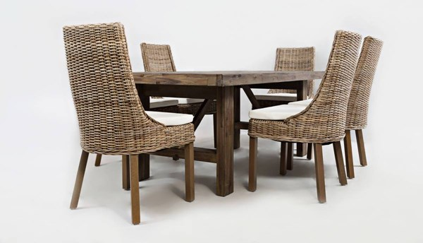 Hampton Road Coastal Wood 7pc Trestle Dining Room Set w/Rattan Chair JFN-872-79-719KD-S2